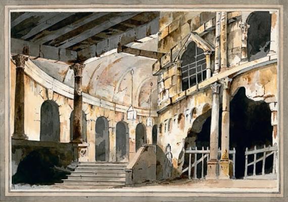 Неизвестный художник по рисунку Н. П. Шереметева «Эскиз театральной декорации. Темница» 1790-е