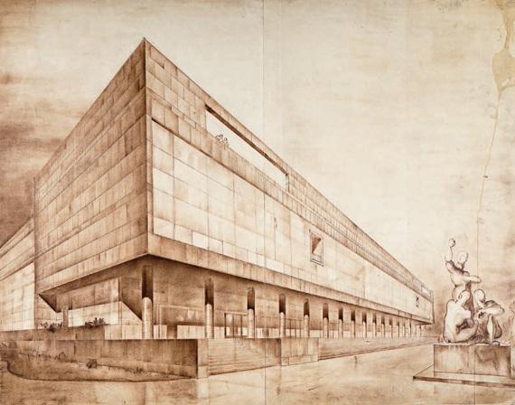 Н. Я. Колли, Ф. И. Заммер «Конкурсный проект Театра МОСПС» 1934. Перспектива главного фасада