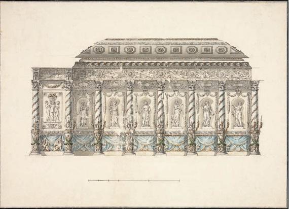 П. И. Аргунов «Останкинский театр. Оформление сцены (разборной галереи). Проект» 1793