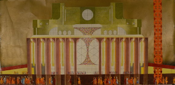 В. А. Сомов «Проект Драматического театра в Новгороде. Главный фасад» 1974