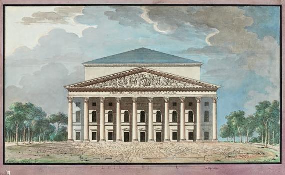 Ж.-Ф.Тома де Томон «Большой театр в Санкт-Петербурге. Фасад. Вариант 1» 1811