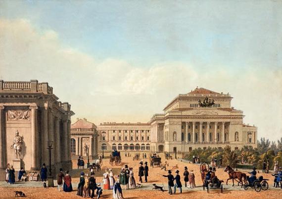 Литограф Шевалье «Вид на Александринский театр в Санкт-Петербурге» 1840-е