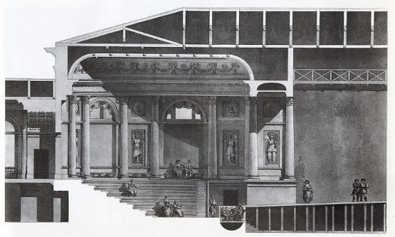 Неизвестный художник по рисунку Дж. Кваренги «Эрмитажный театр в Санкт-Петербурге. Продольный разрез по сцене» 1787