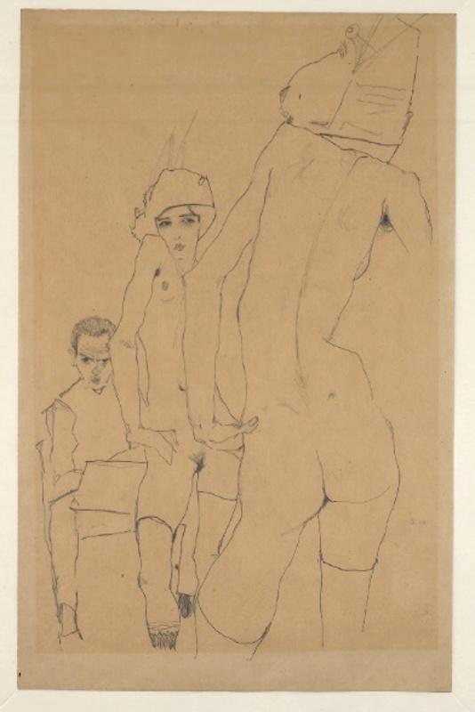 """Эгон Шиле """"Шиле с обнаженной моделью перед зеркалом"""" 1910"""