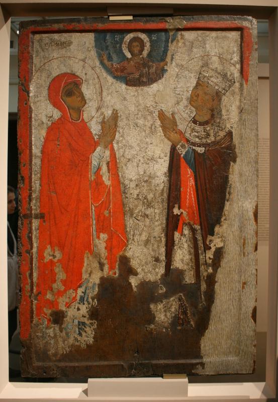 """Икона """"Великомученик Георгий, со сценами жития. Святые Екатерина и Ирнина(?). Двусторонняя икона"""" XIII век."""