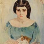 """Иегуда Пэн """"Две кошечки (портрет Р. Идельсон)"""" 1908"""