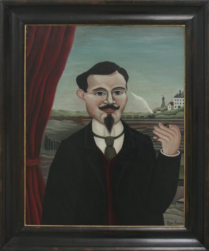 """Анри Руссо """"Мужской портрет. Пейзаж с белым домом"""" 1896"""