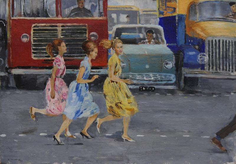 """Ю.И.Пименов """"Бегом через улицу"""" 1963"""