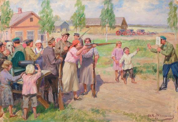 """Иван Владимиров """"Оборонный день в колхозе"""" 1941 Собрание Владимира Руги"""