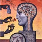 """Юло Соостер """"Человек с мозгом. Из серии «Человечество и наука» 1962"""