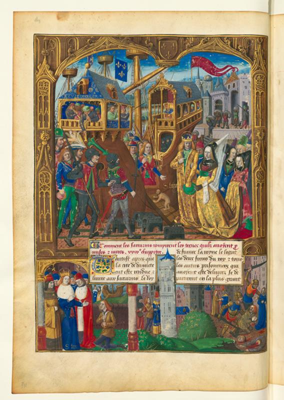 Людовик IX и Маргарита Прованская вступают на корабль
