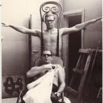 Хэппенинг в мастерской Юло Соостера. Участники: Юло Соостер, Юрий Соболев. Москва, 1967. Фото: А. Соловей.
