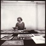 Юрий Соболев во время подготовки первой персональной выставки Юло Соостера в Москве. 1979