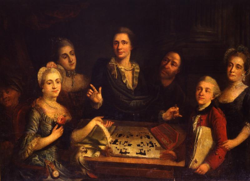 """Неизвестный художник """"Портрет В.И. Баженова в кругу семьи"""" 1780-е"""