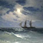"""Айвазовский И.К. """"Парусник на море в лунную ночь"""" 1874"""