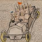 Автомобиль с революционными солдатами. Неизвестный автор. Москва. 1917