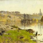 "Исаак Левитан ""На реке (Пароход на Волге). Этюд"" 1886-1890"