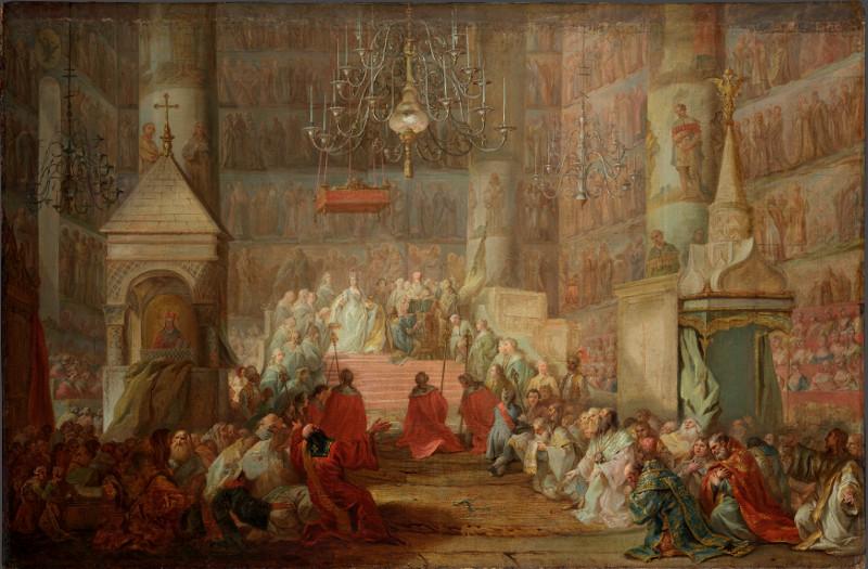 """С. Торелли """"Коронование Екатерины II в Успенском соборе Кремля"""" 1777"""