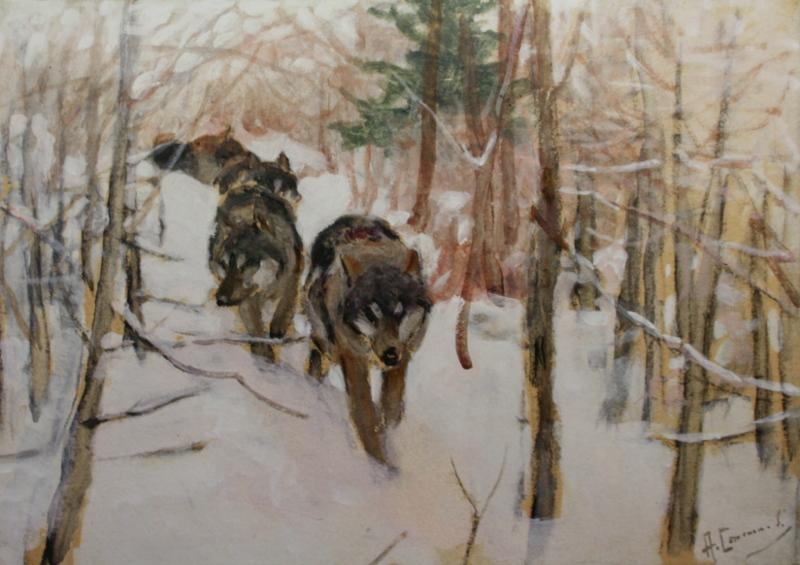 """Алексей Степанов """"Волки в лесу"""" 1915"""