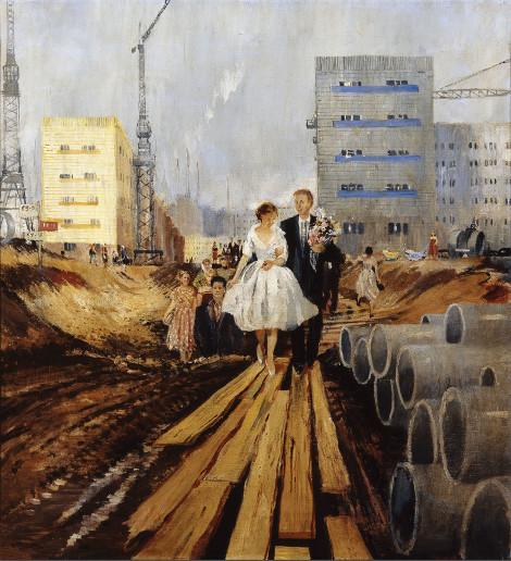 Ю.И.Пименов «Свадьба на завтрашней улице» 1962 Собрание Государственной Третьяковской галереи.