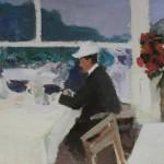 """74. Степанов Алексей """"В кафе. На юге Франции"""" 1900-1910-е 22,4х33,2 Химкинская картинная галерея"""