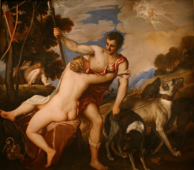 "Тициан Вечеллио ""Венера и Адонис"" Около 1545"