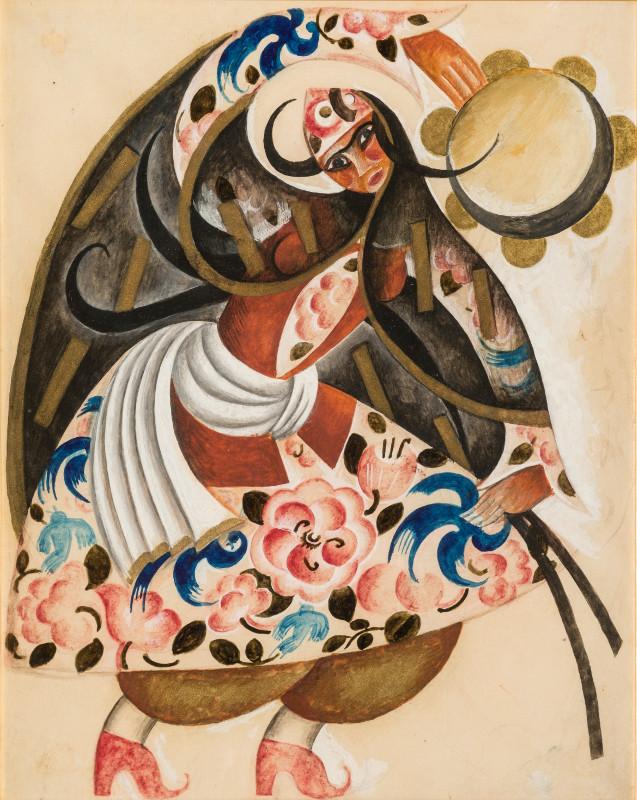"""Павел Челищев """"Танцовщица с тамбурином. Эскиз театрального костюма"""" 1920"""