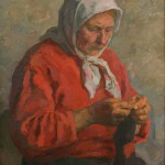 "Владимир Ленивцев ""За вязанием (Носки фронту)"" 1980"