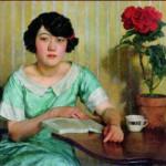 """Xu Beihong """"Девушка за столом"""""""