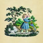 Жанровая сцена. Девочка с попугаем и собакой