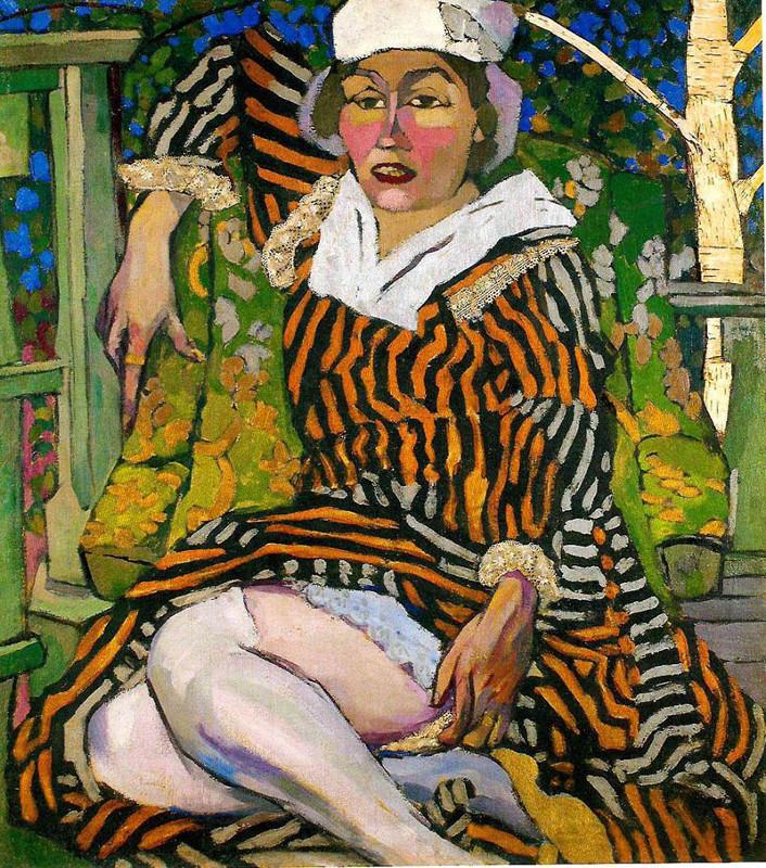 """Аристарх Лентулов """"Женщина в полосатом платье. Портрет М.П. Лентуловой на фоне берёзы"""" 1915"""