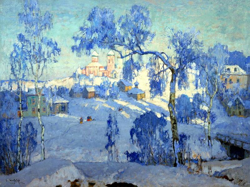 """Константин Горбатов """"Зимний пейзаж с церквями"""" 1925"""