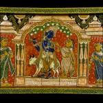 Поднос с изображением Кришны и Радхи