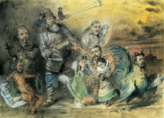 К. Е. Маковский «Шуточный рисунок «Могучая кучка»