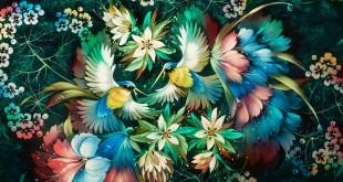 Цветы и птицы. Жостовская роспись художницы Марины Домниковой.