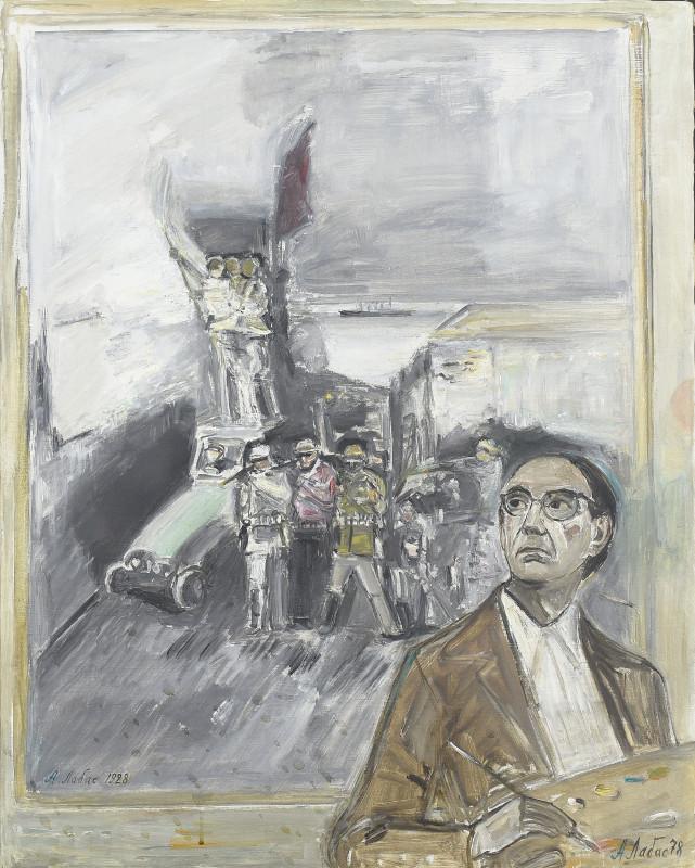 Александр Лабас «Автопортрет на фоне картины «Октябрь 1928 год»