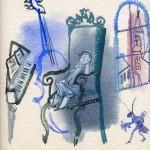 Иллюстрации к серии книг о великих композиторах.