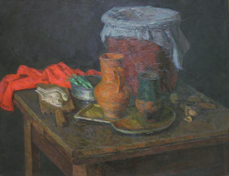 """К.В. Коржева """"Натюрморт с красной тканью"""" 1969"""