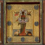 Икона в окладе «Спас Смоленский» в киоте-складне XVII век