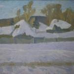 """В.И. Иванов """"Село Воскресенское зимой"""" 1974"""