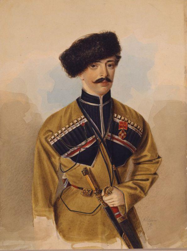 """Александр Клюнгер """"Портрет неизвестного в черкеске"""" 1839"""