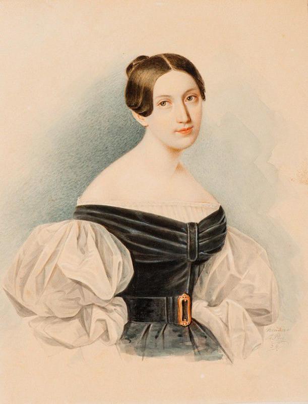 """Александр Клюнгер """"Портрет неизвестной в черном платье с белыми рукавами-буфами"""" 1836"""