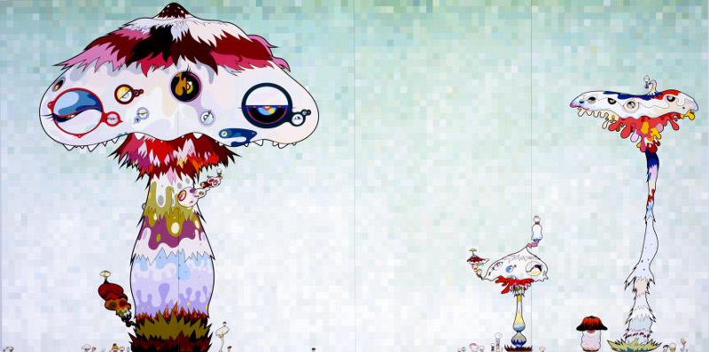 """Такаси Мураками """"Гифа постепенно покроет мир. «Нам нужно поскорее получить руки или ту дверь в чужой мир. Ждите, пока мы не добьемся своего!» 2007"""