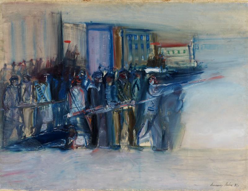 """Александр Лабас """"Октябрь в Петрограде. Эскиз к картине"""" 1930"""