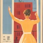 """М. Лукьянов """"Плакат к документальному фильму """"Пора большого новоселья"""" 1959"""