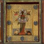 Икона в окладе «Спас Смоленский» в киоте-складне. XVII век