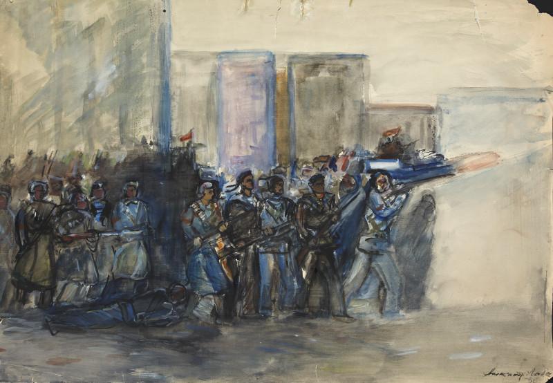 "Александр Лабас ""В атаке"" 1956"