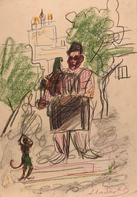 """Александр Лабас """"Шарманщик с попугаем. Из серии """"Смоленск"""" 1967"""