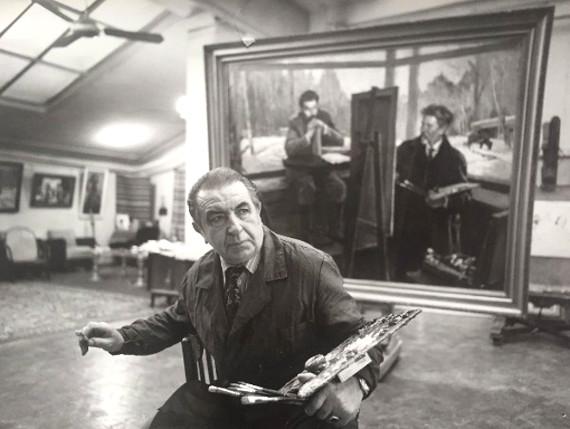 Д.А. Налбандян в мастерской.