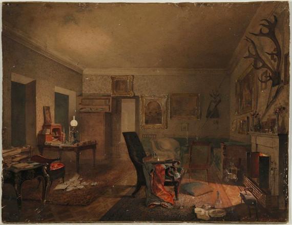 Акварель А.И. Тихобразова «Интерьер с охотничьими трофеями» (1853).